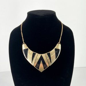 COPY - Gold & Black Enameled Fashion Necklace